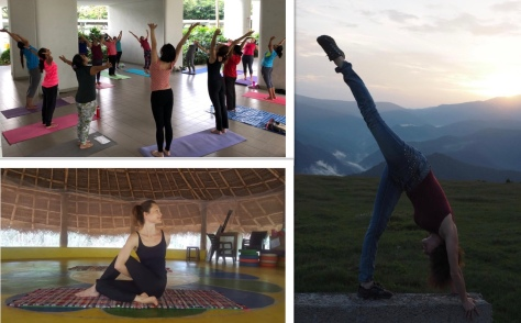 Evergreen yoga collage 2019 july Auroville România